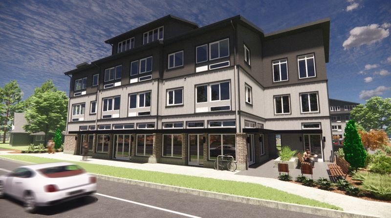 RENDERING COURTESY BARRY R. SMITH, ARCHITECT - Downtown Gresham is getting 49 new homes and retail space.