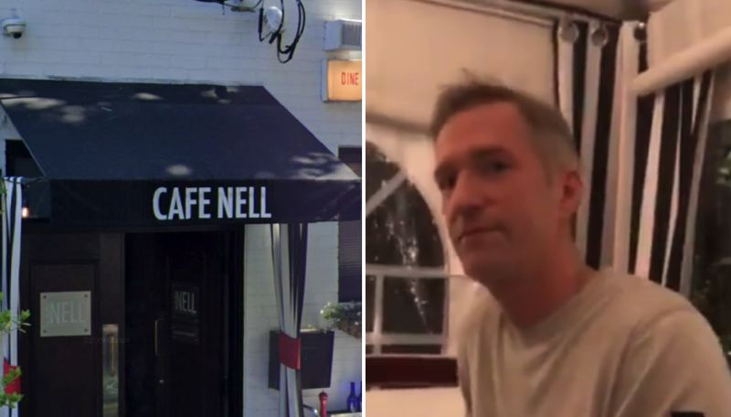 COURTESY PHOTOS: OPB - Mayor Ted Wheeler was confronted by activists, and apparently swatted on the shoulder, while dining out at Northwest Portland eatery Cafe Nell on Jan. 6.