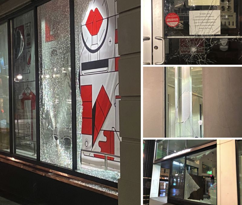 KOIN 6 NEWS PHOTOS/JENNIFER DOWLING - Photos show damage inflicted on Wednesday evening, Jan. 6, in downtown Portland.