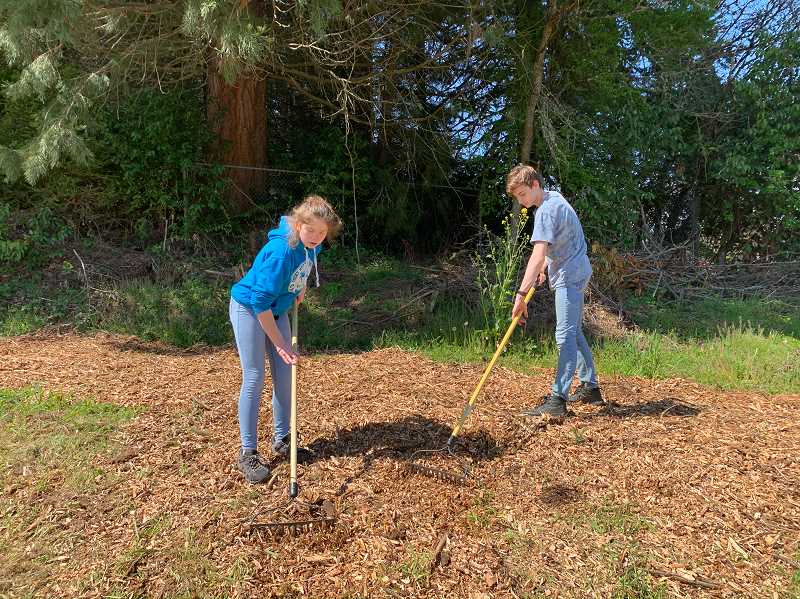 COURTESY OF AMANDA BECKER - Evelyn and Aiden Becker smooth out a bark chip path that Aiden designed, organized and built on Columbia County Christian School grounds.