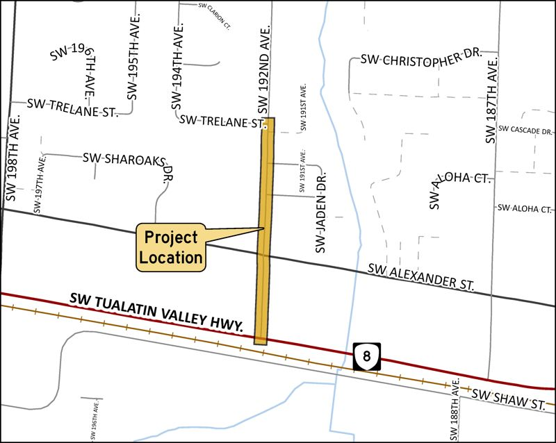 COURTESY MAP: WASHINGTON COUNTY - A map shows the location of a planned sidewalk addition project along Southwest 192nd Avenue between Highway 8, known as Tualatin Valley Highway, and Southwest Trelane Street in Aloha.