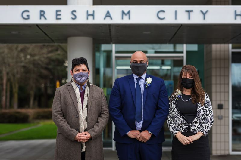 COURTESY PHOTO: CITY OF GRESHAM - Mayor Travis Stovall, middle, with Councilor Eddy Morales and Councilor Dina DiNucci.
