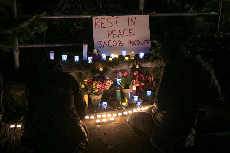 PMG PHOTO: JAIME VALDEZ - A roadside vigil is held on Jan. 7 for Jacob Macduff, who was shot and killed by police in Tigard on Wednesday, Jan. 6.