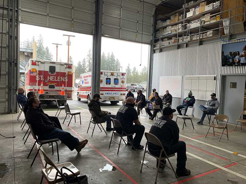 COURTESY OF COLUMBIA RIVER FIRE AND RESCUE - Public safety employees wait to receive the first dose of COVID-19 vaccinations in January 2021.