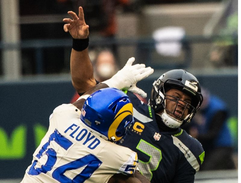 COURTESY PHOTO: MICHAEL WORKMAN - Leonard Floyd and the Los Angeles Rams made life miserable for Russell Wilson Saturday as the Rams won 30-20 in a NFC Wild Card playoff game.