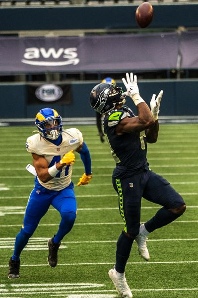 COURTESY PHOTO: MICHAEL WORKMAN - This 51-yard touchdown catch for DK Metcalf was one of the few big plays for the Seahawks in Saturday's playoff loss to the Rams.