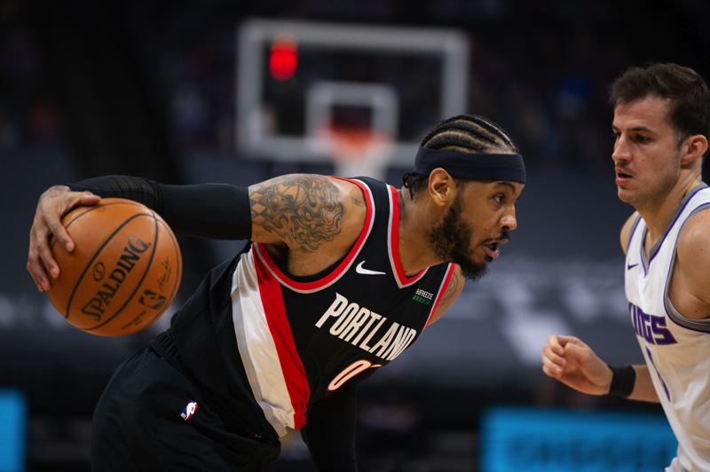 COURTESY PHOTO: BRUCE ELY/TRAIL BLAZERS - Carmelo Anthony and the Trail Blazers built a big first-half lead against Sacramento and cruised to a win Saturday.