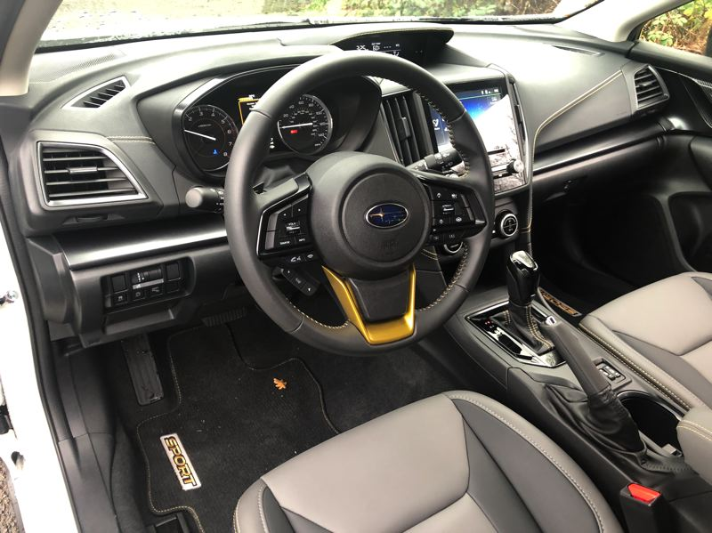 PMG PHOTO: JEFF ZURSCHMEIDE - The interior of the 2021 Subaru Crosstrek Sport features special gold trim and can be equipped with most advanced technologies.