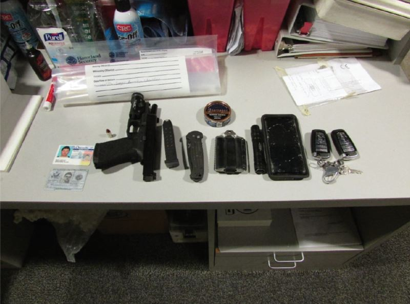 COURTESY: OREGON U.S. ATTORNEYS OFFICE - Items seized from Cody Melby when he was arrested.