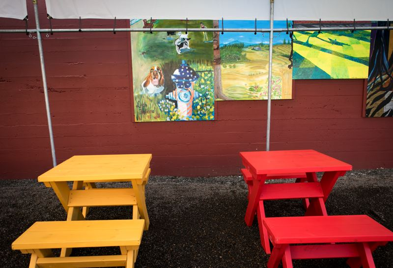 PMG PHOTO: JAIME VALDEZ - 'Carts on Main,' Hillsboro's first-ever food cart pod, will be temporary during the coronavirus pandemic, featuring spaced seating for anyone downtown to use.