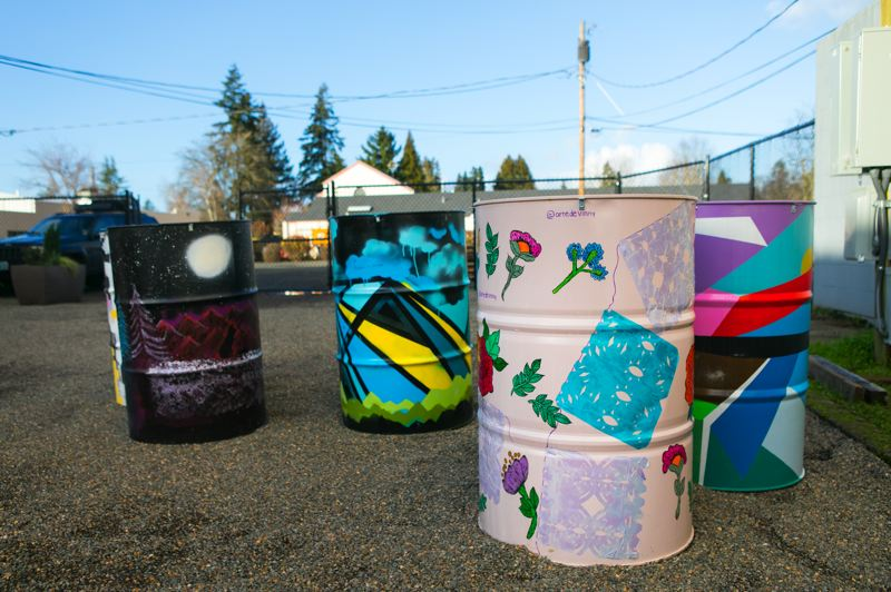 PMG PHOTO: JAIME VALDEZ - Painted oil drums will be used as tables at Hillsboro's first-ever food cart pod, 'Carts on Main.'