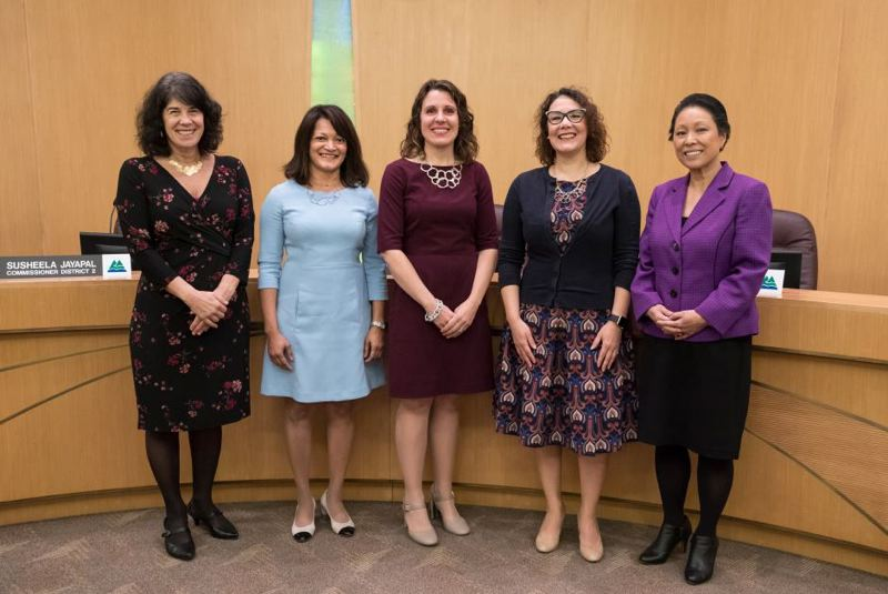 FILE PHOTO - Multnomah County Commissioners Sharon Meiran, Susheela Jayapal, Chair Deborah Kafour, Jessica Vega Pederson and Lori Stegemann pose for a photo during a swearing in ceremony at the Multnomah County public service building.