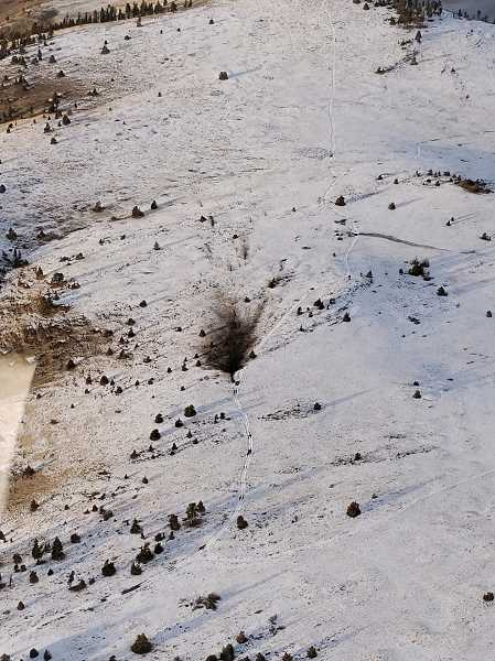 OSP PHOTO  - A plane crashed in the Mutton Mountain area of the Warm Springs Reservation Saturday afternoon. The photo is of the crash site as seen during the Oregon State Police flyover.