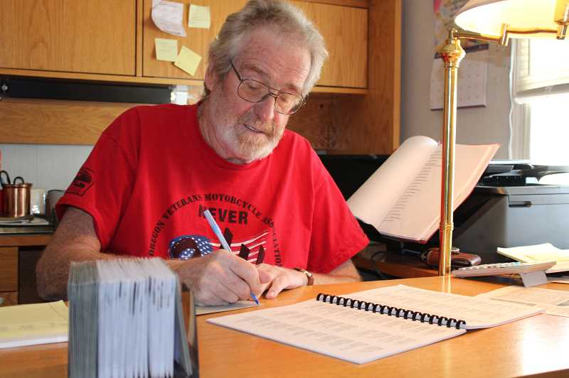 PAT KRUIS/MADRAS PIONEER   - Randy Knight spends part of each day writing thank-you notes to people who supported him during his stay at the hospital.