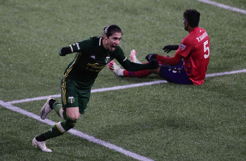 PMG PHOTO: JONATHAN HOUSE - Jorge Villafana scored for the Timbers in what turned out to be his final match with the club, a playoff loss to FC Dallas on Nov. 22 at Providence Park.
