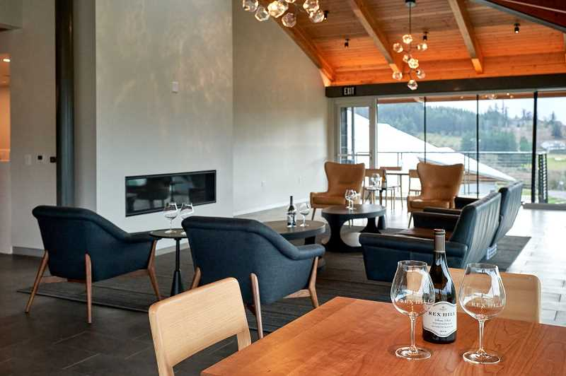 COURTESY PHOTO: REX HILL WINERY - Architect Ernie Munch of MAP Architecture designed the tasting room with floor to ceiling windows to give patrons an expansive view of the Chehalem Valley.