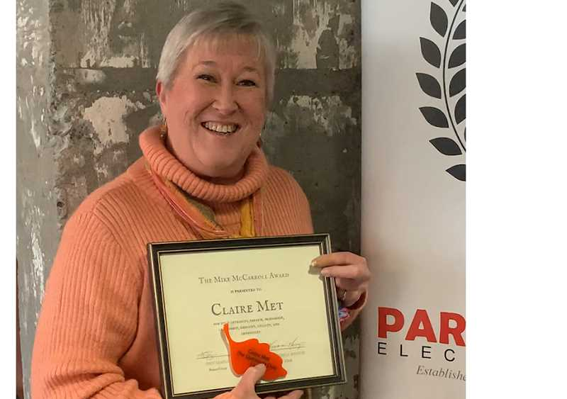 Claire Met received the Mike McCarroll Award, given in commemoration of a former chair of Oregon City Chamber Board.
