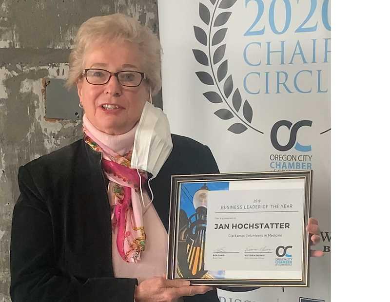 COURTESY PHOTO - Jan Hochstatter was honored by the chamber as the Business Leader of the Year for her meaningful impact on Oregon City.