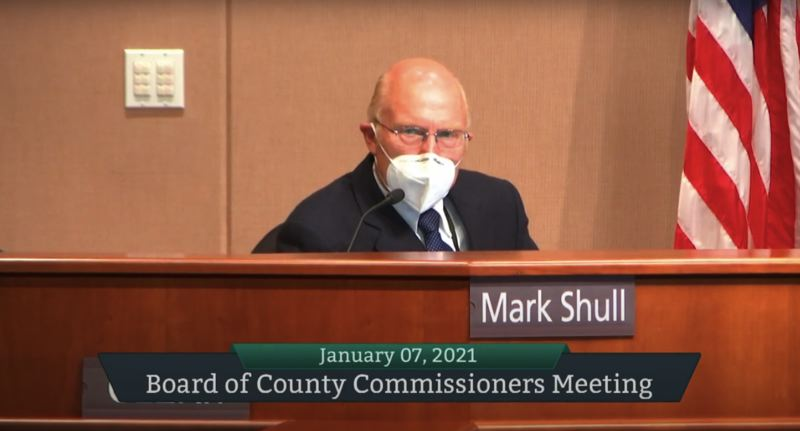 SCREENSHOT - Clackamas County Commissioner Mark Shull sits at the dais on Jan. 7.