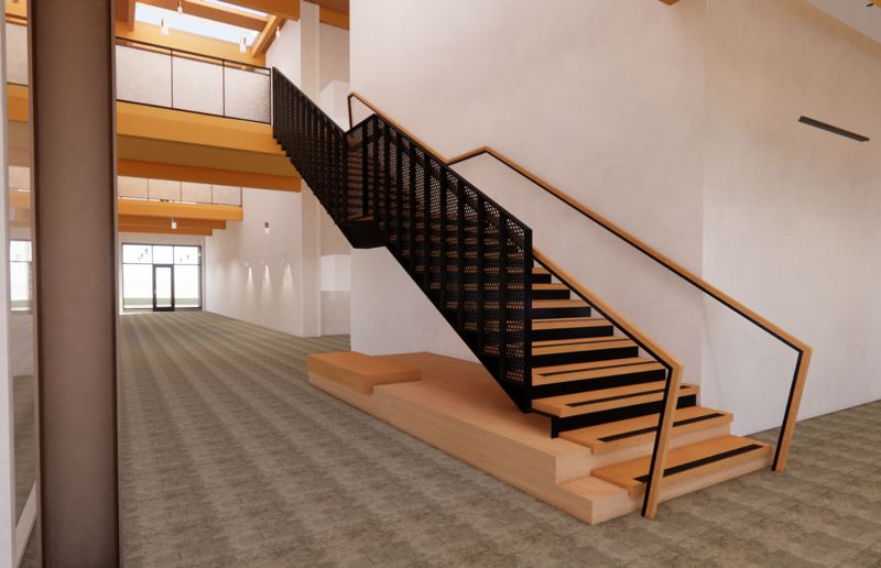 COURTESY: ANKROM MOISAN  - A rendering of a staircase in the new Harder Mechanical building, a mass timber structure being built by Swinerton. The risers are being made with Swinerton's CNC machine. The building should be open by July 14, 2021.