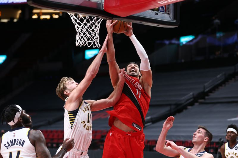 COURTESY PHOTO: BRUCE ELY/TRAIL BLAZERS - Enes Kanter becomes more valuable to the Blazers with Jusuf Nurkic now out with a broken wrist suffered Thursday against Indiana.