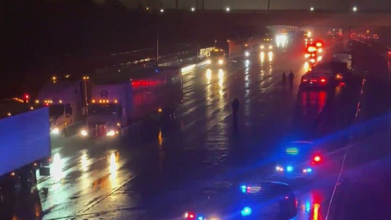 KOIN 6 NEWS - The scene of the I-205 crash and fatality.