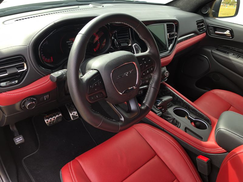 PMG PHOTO: JEFF ZURSCHMEIDE - The interior of the 2021 Dodge Durango SRT Hellcat feels more like a muscle car than a family hauler.