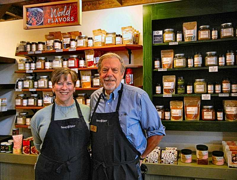 ELIZABETH USSHER GROFF - Owners Anne and Jim Brown have owned the Savory Spice Shop across from the Sellwood Branch Library since 2012. The store serves the community with customized proportions and mixes of hundreds of spices, as well as condiments and kitchen gadgets.