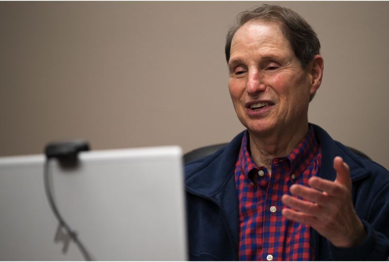 PMG PHOTO: JAIME VALDEZ - Sen. Ron Wyden prides himself on holding town hall sessions every year in every county in Oregon. Thanks to the pandemic, rather than holding his 2021 Washington County town hall in a large meeting all, he held it live from the office of the Forest Grove New Times, a Pamplin Media Group sister publication of the Tribune.