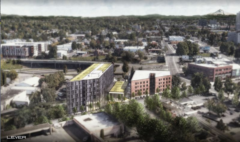 COURTESY LEVER ARCHITECTURE - The Albina Vision Trust plans to build a affordable housing complex and community theatre space in North Portland.