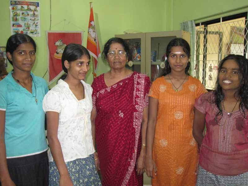 COURTESY PHOTO: JANANI MAHESWARAN  - Janani Maheswarans grandma, center, is a teacher at an orphanage in Sri Lanka. Maheswaran is inspired by her grandma and volunteers to read to the children over Zoom at 5 a.m. three times a week.