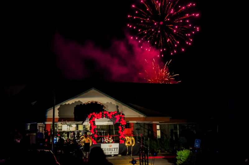 COURTESY PHOTO: KAREN HAWLEY - Corbett School District honored the class of 2020 with a festive outdoor graduation culminating in fireworks. Thats a fitting tribute to a class with one of the highest graduation rates in the state.