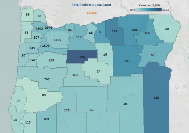COURTESY OHA - A map of pediatric COVID-19 cases in Oregon from the Oregon Health Authority report.