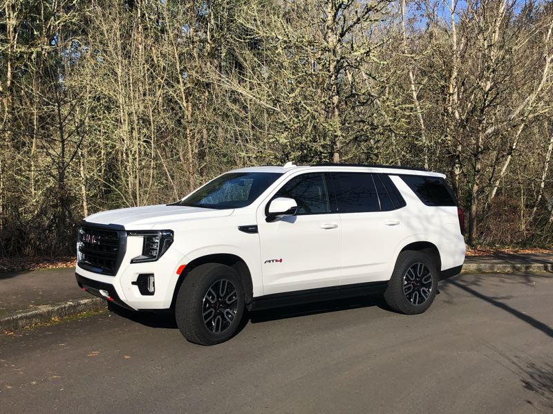 PMG PHOTO: JEFF ZURSCHMEIDE - The 2021 GMC Yukon is based on the best-selling full-size platform in the world, and the optional AT4 package makes it more off-road capable than ever before.