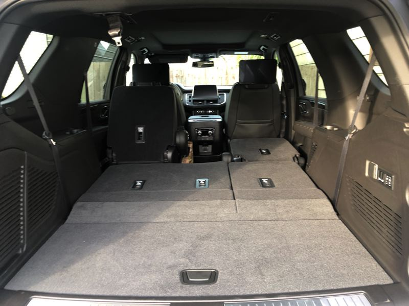 PMG PHOTO: JEFF ZURSCHMEIDE - Cargo space in the 2021 GMC Yukon is enormous with the second and third row of seats folded down.