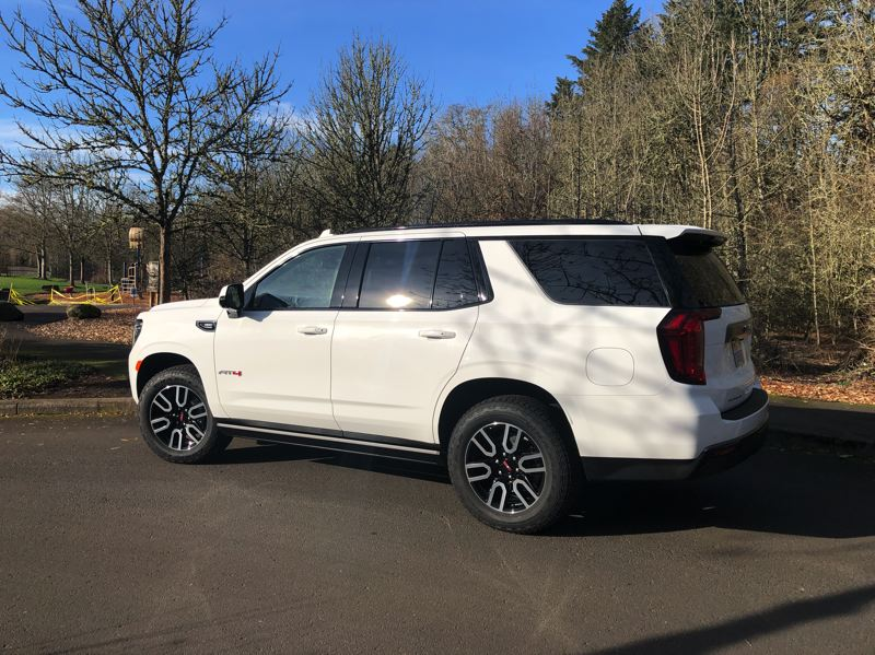 PMG PHOTO: JEFF ZURSCHMEIDE - With the AT4 package, the 2021 GMC Yukon is not raised and includes a heavy-duty suspension, but rides better than older versions because it has an independent rear suspension like a crossover.