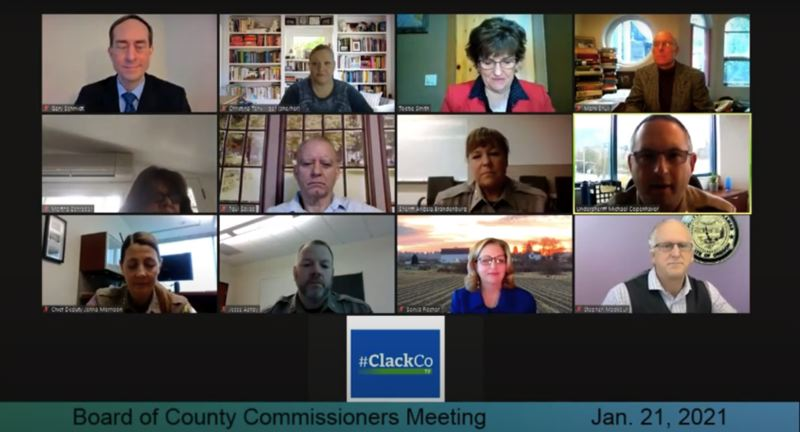 SCREENSHOT - YOUTUBE - The Clackamas Board of County Commissioners hears from Undersheriff Michael Copenhaver (center row, far right) during an update on the direction of the Clackamas County Sheriff's Office under newly elected Sheriff Angela Brandenburg (center row, second from right).