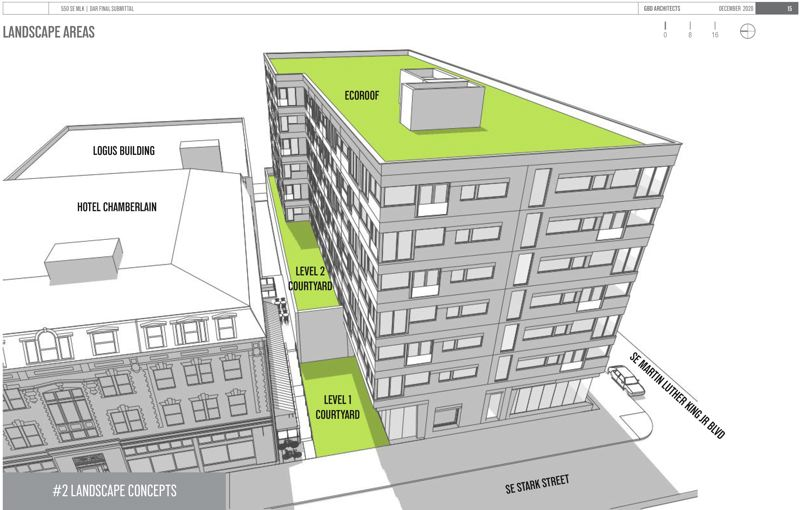 COURTESY: DAR - Plans for the 550 MLK project include an ecoroof and two courtyards, one of which is elevated.