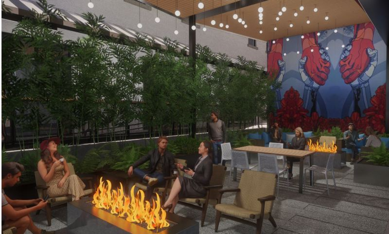 COURTESY: DAR - The ground-level courtyard at 550 MLK is envisioned as being open to the street with outdoor seating around gas firepits.