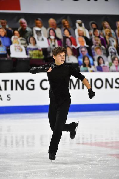 COURTESY PHOTO: U.S. FIGURE SKATING - Happy Valley resident Samuel Mindra performs during the Junior Men's competition at the U.S. Figure Skating championships, where he took third place.