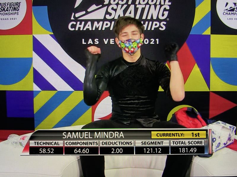 COURTESY PHOTO: MARI MALAMA - Samuel Mindra reacts to his score following his free skate performance at the U.S. Figure Skating Championships on Jan. 21 at Las Vegas. Mindra placed third overall in the Junior Men's Division.