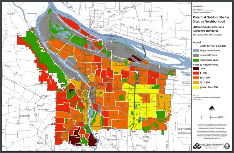 COURTESY GRAPHIC: CITY OF PORTLAND - One of four new maps showing where land for new homeles shelters and sanctioned campsites is available in Portland neighborhoods.