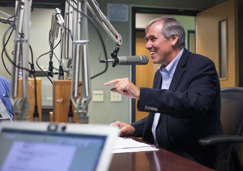FILE - U.S. Sen. Jeff Merkley, D-Ore., speaks Thursday, Oct. 10, at a meeting with Pamplin Media Group reporters and editors in 2019.