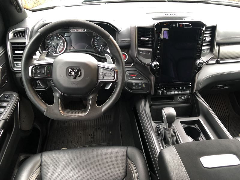PMG PHOTO: JEFF ZURSCHMEIDE - The interior and technology packages in the 2021 Ram TRX are among the are among the best the company has to offer.