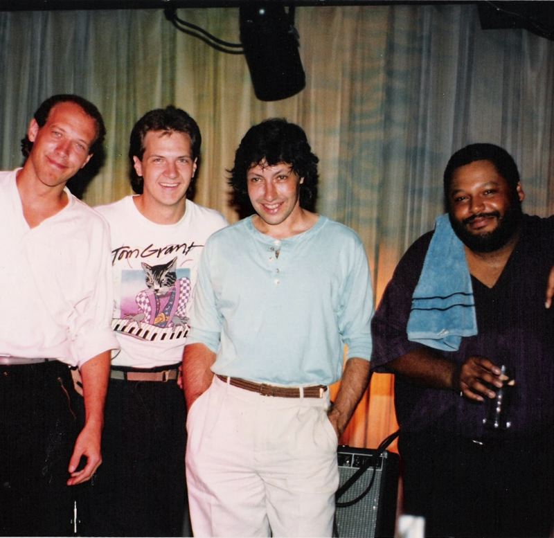 COURTESY PHOTO - Original members of the Tom Grant Band, including (from left) Dan Balmer, Jeff Leonard, Tom Grant and Carlton Jackson, will play a livestream concert Feb. 13. This photo is from 1985, shortly after the band's formation.