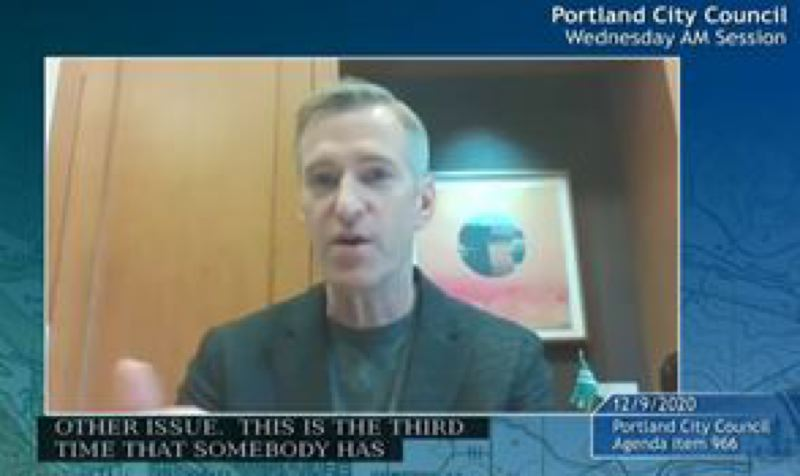SCREENSHOT - Mayor Ted Wheeler shown during a Dec. 9 City Council meeting