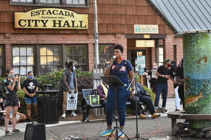 PMG PHOTO: EMILY LINDSTRAND - Libra Forde speaks during the Estacada march against racism in July 2020.