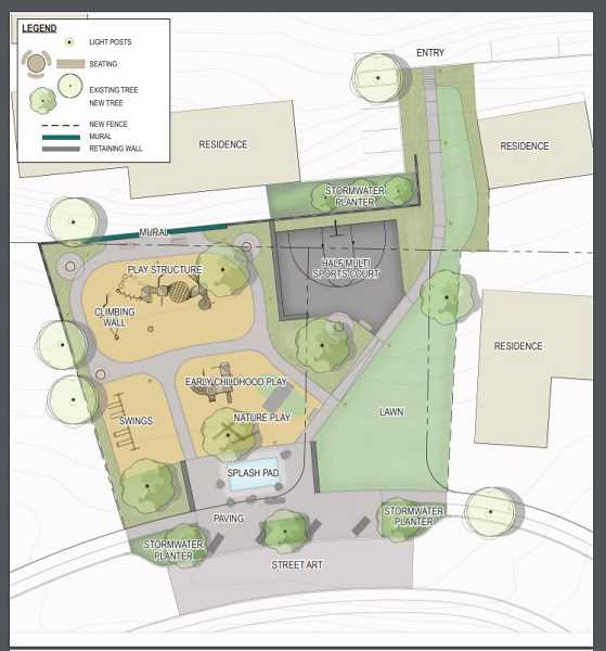 COURTESY PHOTO: CITY OF TUALATIN - Among the preferred park design options were a splash spray pad/water feature, a nature play area, play equipment, climbing wall and other features.