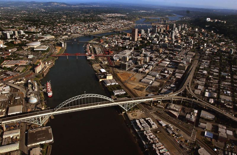 PMG FILE PHOTO - Portland has a rich history of bridges as seen here with the Fremont Bridge in the foreground.