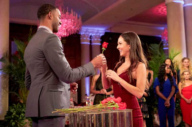 COURTESY PHOTO: ABC/THE BACHELOR - Beaverton resident Abigail Heringer, who is a contestant on ABCs The Bachelor, receives a rose from bachelor Matt James.